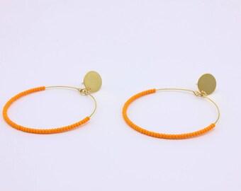 Beaded Hoop Earrings, Orange Seed Bead Hoops, Handmade Jewelry by Detail London.