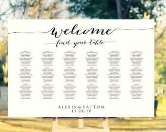 Welcome Wedding Seating Chart Template in FOUR Sizes -  16x20, 18x24, 20x30, 24x36, Wedding Sign Seating Chart Poster, Reception Sign