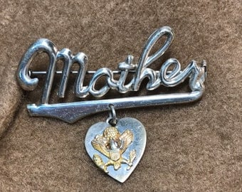 Sterling Silver Mother Pin / Brooch Vintage WWII