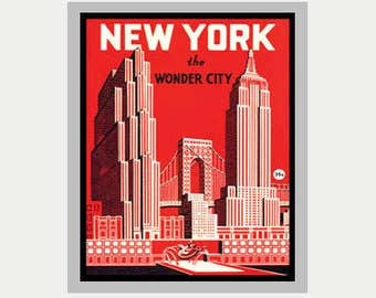 New York City Sticker - NYC Decal - Empire State Building Decal - Car decal - Laptop sticker - RV decal -  Vintage Style Decals - ST89