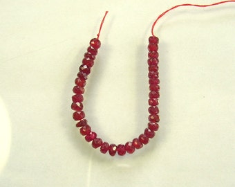 """Red spinel  faceted rondelle beads AAA 3mm 3"""" strand"""