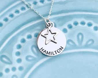 Hamilton Musical Necklace, Playbill and Soundtrack Album Cover, --Engraved-- Broadway, Sterling Silver, Stainless Steel, Gift for Fan