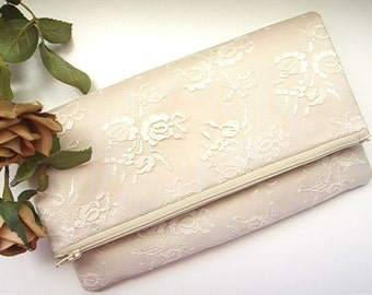 Champagne Clutch - Champagne Satin Clutch - Wedding Clutch - Vintage Clutch - Bridesmaid Clutch - Bridal Clutch - Champagne Lace Clutch