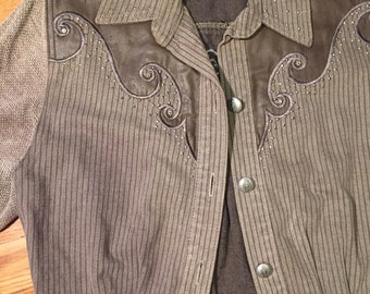 Vintage grey/brown Western jacket/Short/bolero/Tan/Medium