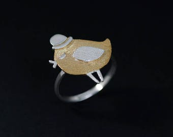 Cute Bird Ring-Sterling Silver King Bird Open Ring-Singing Bird-Gold Silver Bowler Wing-Bird Lover