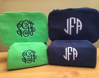 Monogrammed Cosmetic Cases - Monogram Make Up Bag Set - Monogrammed Make Up Bags - Two Cosmetic Bags - Set of 1 Large and 1 Small Size Bags