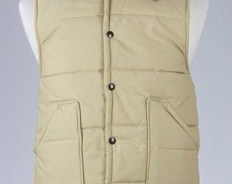 ON SALE Vintage 80s Nelson Tan Puffy Quilted Ski Vest XL
