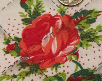 Vintage  3 pieces of rose print cotton fabricVF2