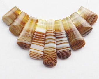 Natural Striped Brown Agate Freeform Pendant Bead Set. Lot of 9 pcs:  36x10x5 mm - 16x10x5 mm.