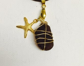 Genuine Hawaii Sea Glass Gold Wire Wrapped Necklace With Gold Starfish Charm