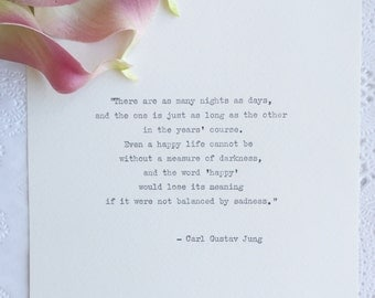 Carl Jung 'Happy' Quote/ Psychology Quote/ Hand Typed