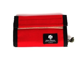 Red Cordura Wallet with velcro closure