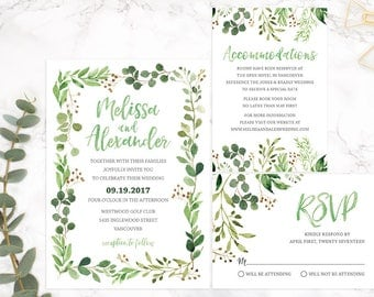 Green Wedding Invitation Suite, Greenery Wedding Invitation Set, Wedding Invitation Template, Wedding Invitation Printable, Wedding GRNR