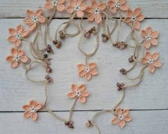 Flower lariat beaded necklace garland scarf crochet light peach flowers Natural stone necklace Women fashion neck accessories Christmas gift