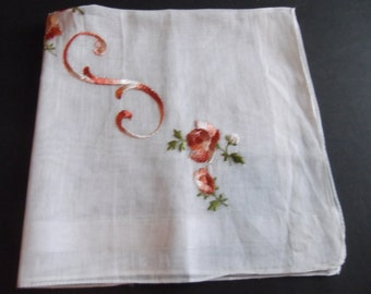 """Sweet Hankie Machine Embroidery Letter """"S"""" and Pink Rose Collectible Vintage 1950's Estate Sale Very Delicate Monogram"""
