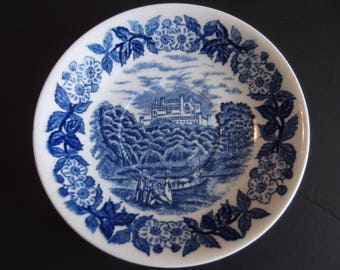 English Blue and White Scenery Saucer 6 inches England