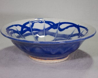 Small Blue and White Wheel Thrown Stoneware Ceramic Bowl with Under Glaze Slip Trailing and Incised Design