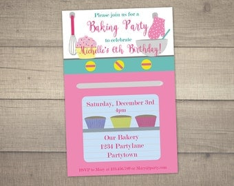 Baking Party Invitation , Cake Decorating Party , Baking Birthday Invitation, Cooking Invitation , digital file.With FREE Thank You card