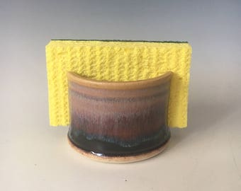 Pottery Sponge Holder, Handmade Sponge Holder, Purple and Sunset Colors