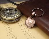 Genuine 1942 World War 2 British Farthing Old Vintage Wren Coin Keychain 75th Birthday Gift