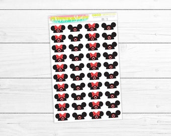 Ear Hat Stickers (Mickey & Minnie Disney Parks Ear Hat Stickers) | 40 Stickers | Decorative Stickers, Planner Stickers, Scrapbook Stickers
