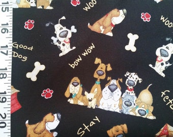 Pet's Patch Black Dog Commands Quilting Fabric - Fat Quarter or Yardage