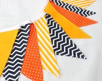 Construction Birthday Banner, Bunting, Fabric Garland Pennant Flags, Orange, Yellow, Black Chevron, 1st birthday Boy, Dump Truck Party