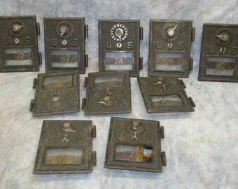 10 U.S. Post Office Box Doors Combination Lock Bronze Mailbox Vintage Brass c