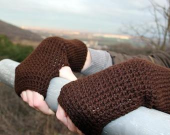 Dark Brown Fingerless Gloves / Brown Crochet Arm Warmers / Chocolate Brown Wrist Warmers / Fall Winter Accessories Gift Idea