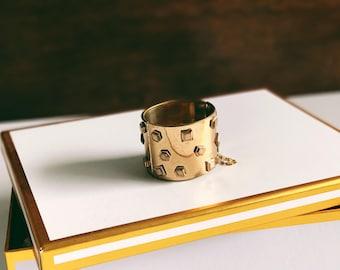 60's Gold Cuff Bracelet with Geometric Studs / Studded Cuff / Wide Cuff / Brass Cuff / Statement Bracelet / Boho Cuff