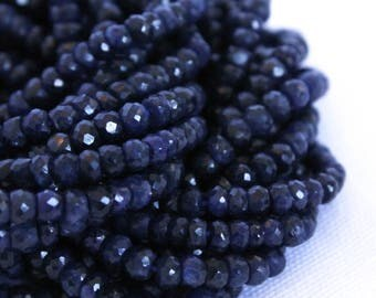 "Sapphire Beads - Full Strand 14"" - 3mm x 4mm Faceted Rondelle Beads - Small Blue Beads - Wholesale Beads - Dark Blue Gemstones / GB-027"