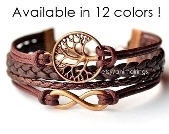 Tree of Life bracelet, Infinity Bracelet, Charm Bracelet, Leather Bracelet, Friendship Bracelet, Cuff, Beadwork, Eco-Friendly, Bronze, Cord