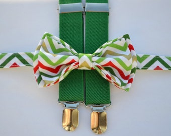 Boys Christmas Outfit -- Baby Christmas Outfit -- Chevron Bow Tie & Green Suspenders