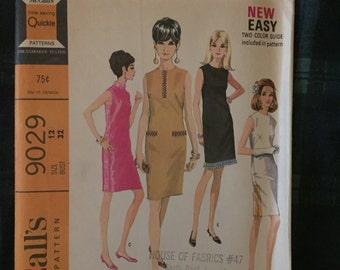 1060's Mod Sheath Dress Vintage McCalls Pattern #9029- size 12 bust 32