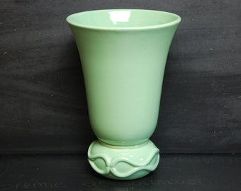 Retro French green vase made by the ceramics company Saint Clement, signed B.Letalle. Very good condition for this trumpet shaped vase.