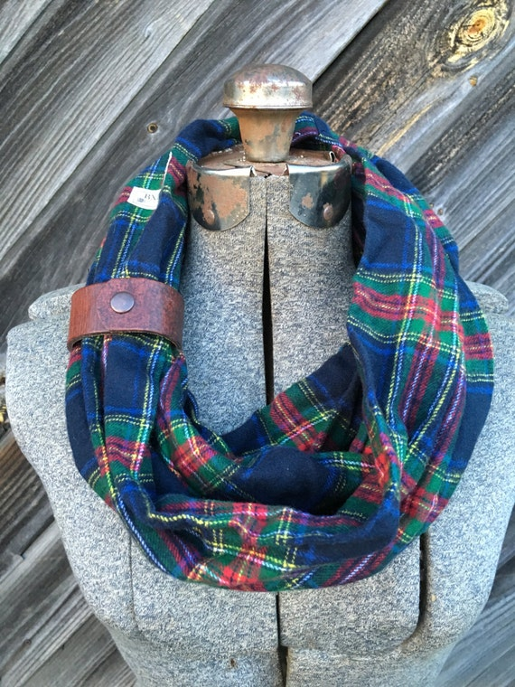 green, red and navy plaid flannel eternity scarf with a brown leather cuff - soft, trendy