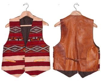 Leather & Handwoven Mens Moroccan Bohemian Vest