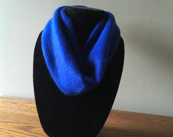 Upcycled cashmere cowl. #31 Deep blue felted cashmere neck warmer.