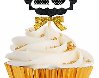 28th Birthday / Gold Ribbon with Polka Dot Numbers Cupcake Picks / Toppers -12ct.