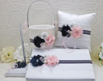 wedding accessory set, navy and blush pink wedding, flower girl basket, ring bearer pillow, guest book and pen, wedding decorations