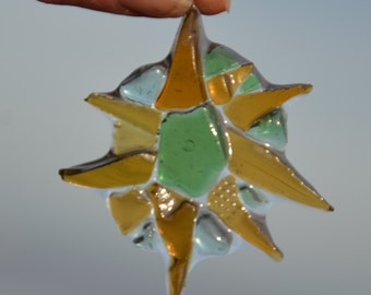 Sunburst sea glass suncatcher, sea glass ornament, sea glass art, sea glass mosaic flower, unique sea glass, beach sculpture beach sea glass