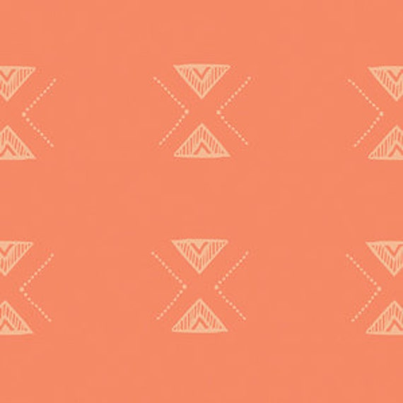 Changing Pad Cover >> Garden Dreamer Triangular in Orange >> Made-to-Order >> orange changing pad, triangle changing pad, boho changing pad