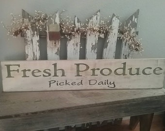 Fresh Produce Farmhouse Wood Sign
