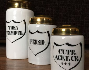 Late Victorian Royal Copenhagen set of three ceramic apothecary jars with plated brass lids