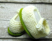 Hand Knitted Baby Shoes Crib Shoes Bootees Wool Rich 3 months New baby Cream and Green with button UK Seller Ready to Ship
