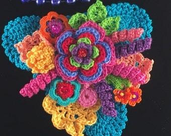 Bright floral Crochet Brooch