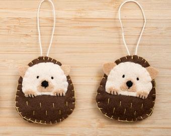 Handmade Felt Hedgehog Ornament, Decorative Felt Animal Ornament, Felt Hedgehog, Nursery Decoration, Forest, Baby gifts, Woodland Creatures