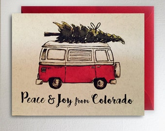 Peace & Joy from Colorado // VW Van with a christmas tree