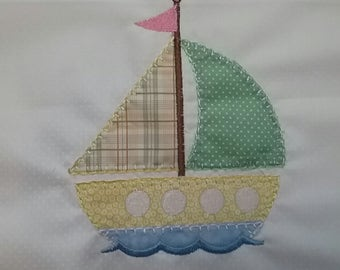 Sail boat machine embroidered quilt block for baby