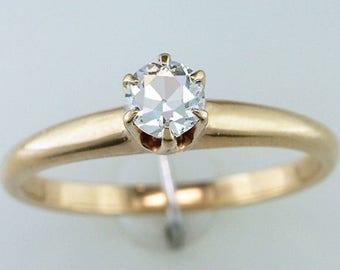 Vintage Antique 1/3ct Diamond Solitaire 14K Gold Victorian Engagement Ring